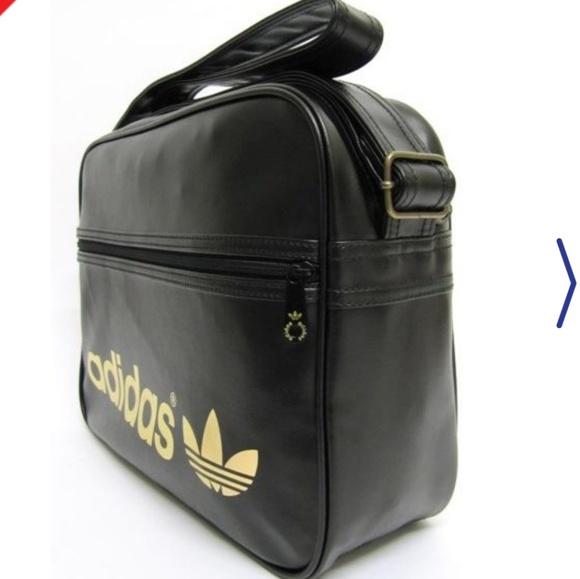 dfcd65dd70 ADIDAS Airline Black Gold Metal Logo Messenger Bag. NWT. adidas.  M 5b54e9462e1478a84354f299. M 5b54e9309539f7f154d89949.  M 5b54e969e944bae397d047d2